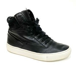 Vince Black Leather High Top Sneakers size 5